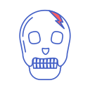 bone, dead, head, line icon, skull icon