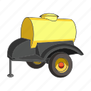 agricultural machinery, barrel, equipment, farm, machinery, trailer, water icon