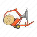 agricultural machinery, equipment, farm, hay, machinery, roll, transportation icon
