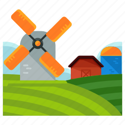 agriculture, estate, farm, farming, field, windmill icon