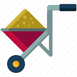 agriculture, filled, maintenance, tool, wheelbarrow icon