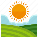 agriculture, farm, field, nature, sun, weather icon