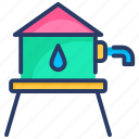reservoir, tank, tower, water icon