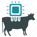 bull, cattle, chip, chipping, control, cow, technology icon