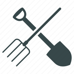 agriculture, equipment, fork, gardening, shovel, tools, work icon