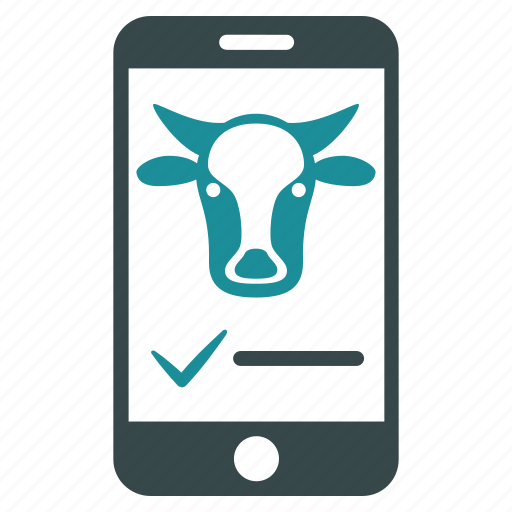 agriculture, bull, cattle, cow, mobile, phone, telephone icon