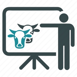 business plan, cattle, cows, document, presentation, report, statistics icon