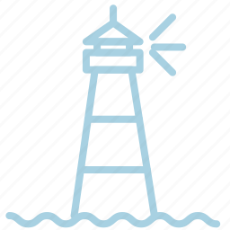 light, lighthouse, marine, sea, ship, tower, waves icon