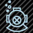 bublless, frogman, helmet, marine, rubber, sea, underwater icon