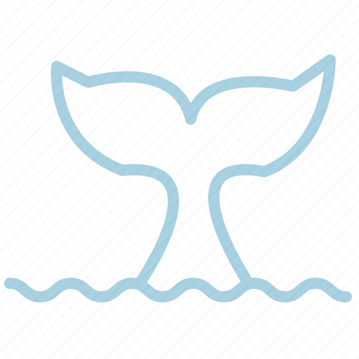 ahoy, animal, sea, tail, water, waves, whale icon