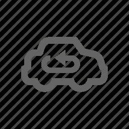 arrow, car, inside icon