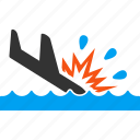 accident, air crash, airplane, disaster, landing, sea, water icon