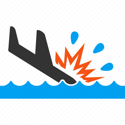 accident, air crash, airplane, disaster, landing, sea, water icon