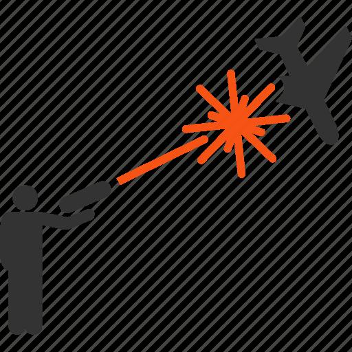 aircraft, airplane, gun shot, military, rebel, strikes, weapon icon