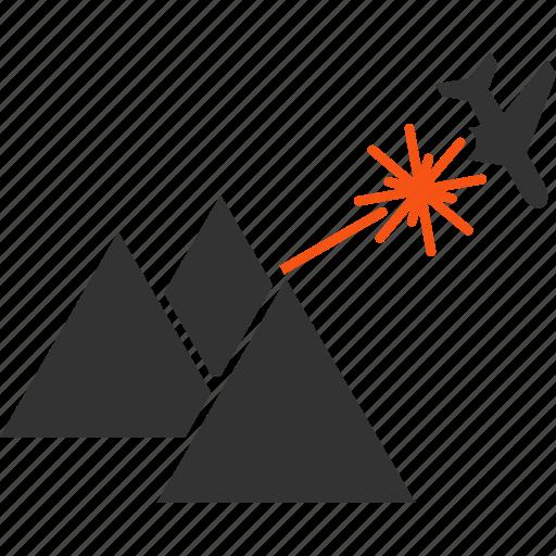 aircraft, airplane, avia terror, laser beam, piramides, strike, terrorism icon