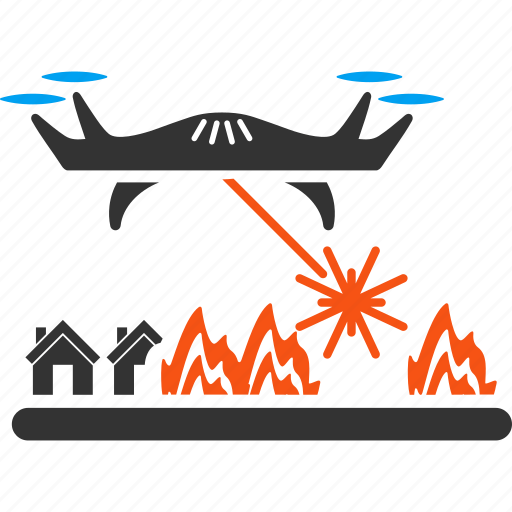 aircraft, buildings, city, drone attacks, laser, military, village icon