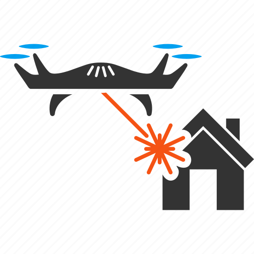aircraft, building, drone, house, laser attack, quadcopter, war icon