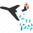 accident, aircraft, airplane, broken, falling, passengers, people icon