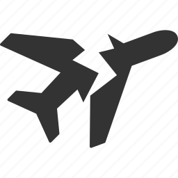 aircraft, airline, airplane, aviation, break, broken, crash icon