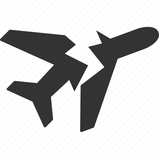 aircraft, airline, airplane, aviation, break, broken, crash icon