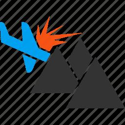 accident, aeroplane, aircraft, airplane, crash, damage, mountain icon