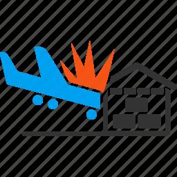 accident, air force, aircraft, airplane, collision, crash, hangar icon