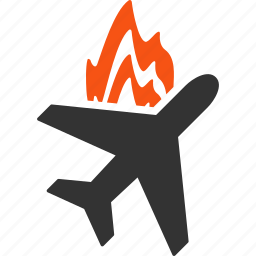 air plane, aircraft, airplane, aviation, crash, fire, flame icon
