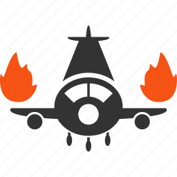 accident, aircraft, airplane, burn engines, fire, flame, vehicle icon