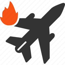 aircraft, airliner, airplane, burn, damage, fire, flame icon