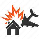 aircraft, airplane, collision, crash, home, house, jet plane icon