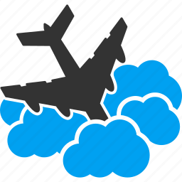 aeroplane, aircraft, airplane, clouds, cloudy, fall down, flight icon