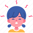 air, fever, girl, headache, kid, pollution icon