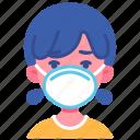 allergy, fever, flu, girl, kid, mask, protect icon