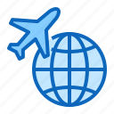 airline, airplane, flight, globe, plane, travel icon