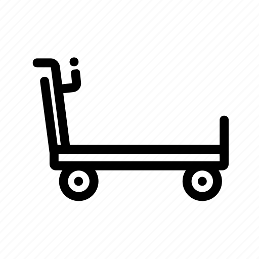 airport, baggage, cart, delivery icon