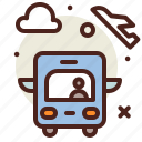 airplane, airport, bus, flight, plane, transport, travel icon