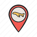 airport, flight, location, map, pin, sign, travel icon