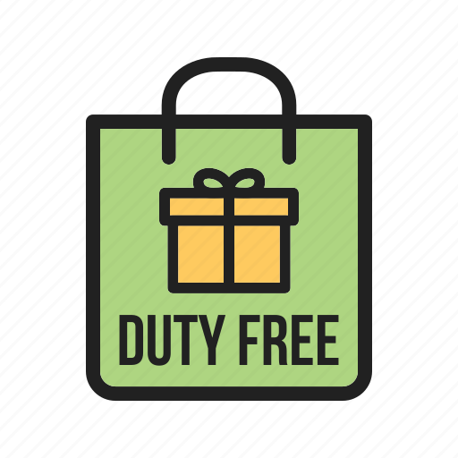 Duty, people, travel, luggage, free, custom, airport icon