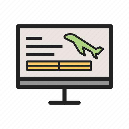 Search, flight, travel, computer, online, airplane, booking icon
