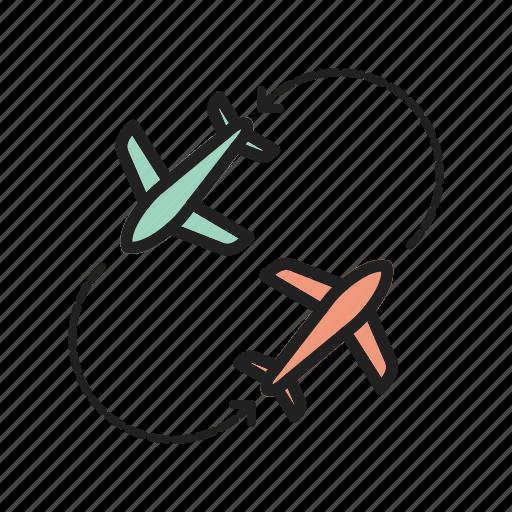 airport, business, flight, round, runway, travel, trip icon