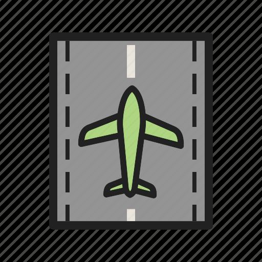 Flight, runway, landing, airport, plane, aviation, travel icon