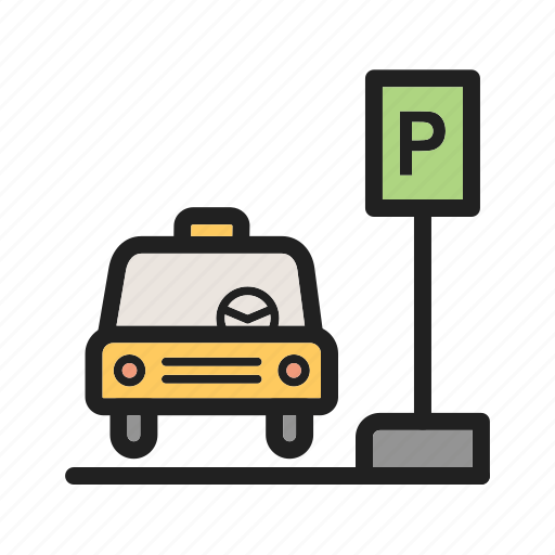 cab, car, public, stand, station, taxi, transportation icon