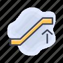 airport, escalator, up icon