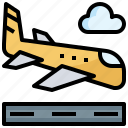 airplane, airport, arrival, land, landing, transport, travel icon