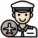 airplane, aviator, captain, jobs, professions, transportation, trave icon