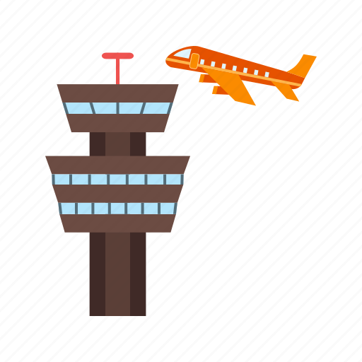 airplane, airport, control, flight, sky, tower, traffic icon