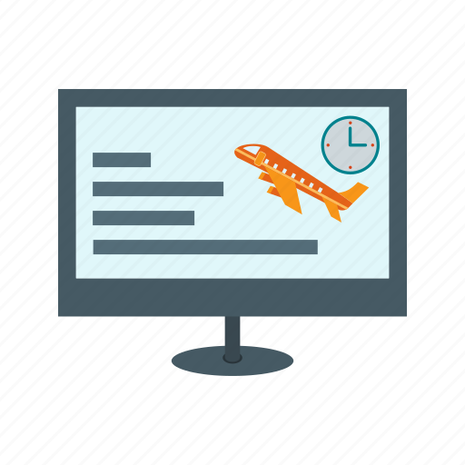 airplane, booking, computer, flight, information, online, search icon