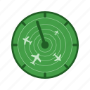 airport, control, flights, radar, screen, technology, traffic icon
