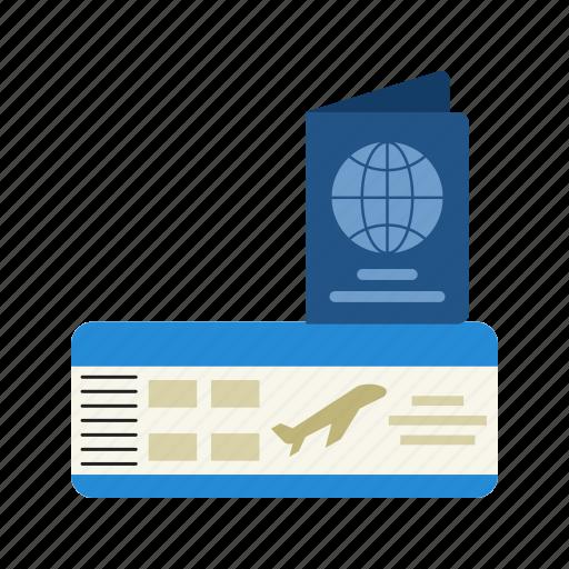 airport, boarding, pass, passenger, passport, ticket, travel icon
