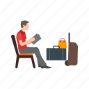 airport, flight, lounge, people, plane, travel, waiting icon